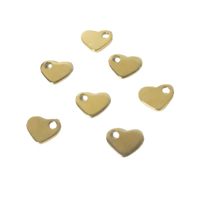 Metal pendants, 10mm, heart charm, stainless steel, gold plate
