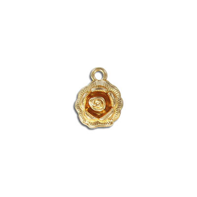Metal pendant, 14mm, rose, gold plate