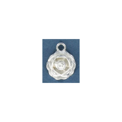 Metal pendant, 14mm, rose, silver plate