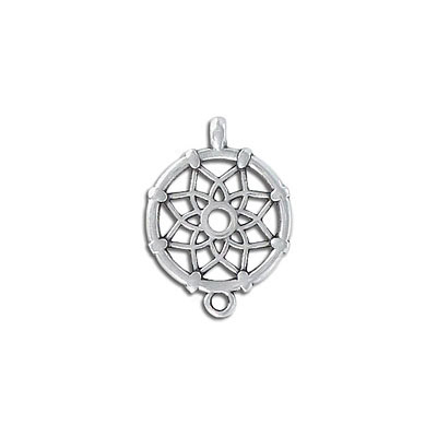 Metal pendant, 18mm, dreamcatcher, zinc alloy (zamak)