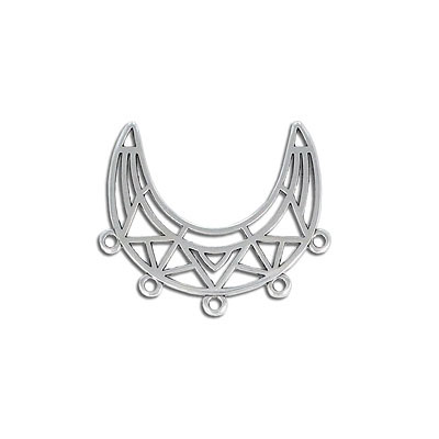 Metal pendant, 32x10mm, 5 loops, zinc alloy (zamak)
