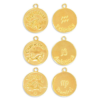 Metal pendant, 17mm, round Zodiac charms, all 12 signs per pack, gold plate, nickel free