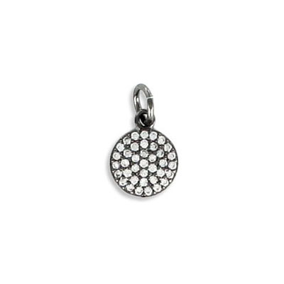 Metal pendant, 8mm, round, brass core, cubic zirconia pave, black nickel color, with 5mm jump ring