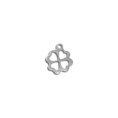 Metal pendant, 12.5mm, four leaf clover charm, stainless steel
