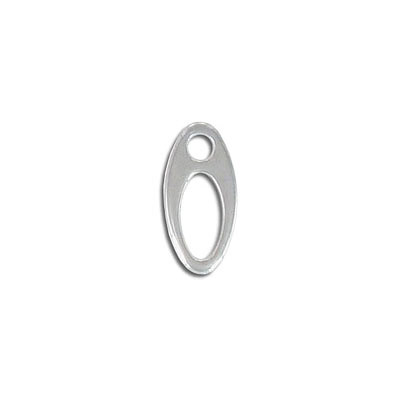 Metal pendant, 19.4x8.75mm, oval, stainless steel