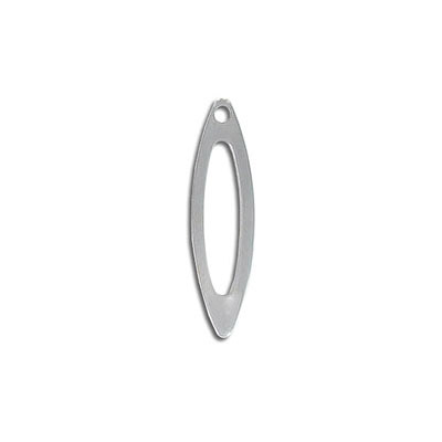 Metal pendant, 26x7mm, oval, stainless steel