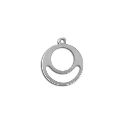 Metal pendant, 18.75mm, round, stainless steel
