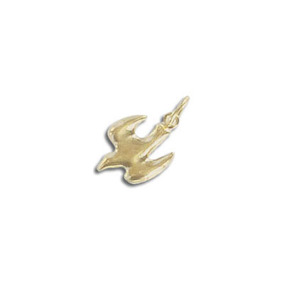 Metal pendant, 12x7mm, dove charm, gold filled, gold plate