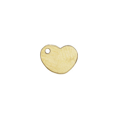 Metal pendant, 7x8mm, heart charm, gold filled, gold plate