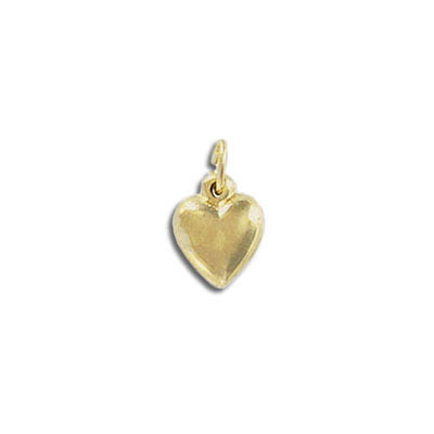Metal pendant, 10x8mm, heart charm, gold filled, gold plate