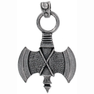 Heavy metal axe pendant pewter