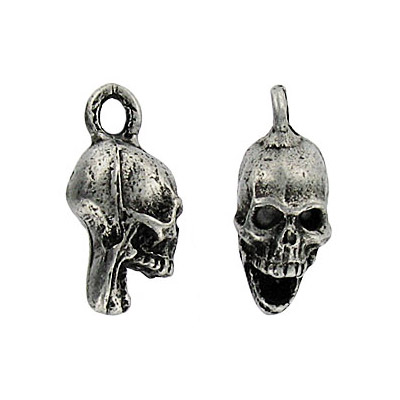 Heavy metal pendant, skull, antique silver, lead safe