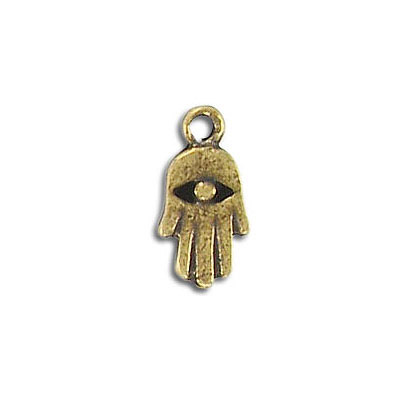 Metal pendant, 1/2inch evil eye protection hand charm, pewter, antique brass