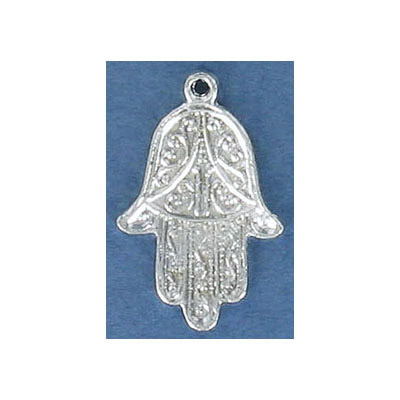 Metal pendant, evil eye hand charm, 1 inch, pewter, silver plate