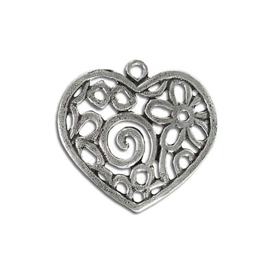 Metal pendant, 30mm, heart, pewter, lead safe