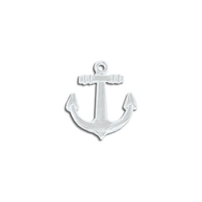 Metal pendant, 18mm, anchor, silver plate