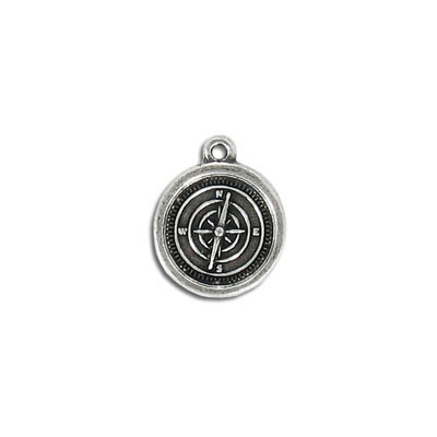 Metal pendant, 14mm, compass, pewter, lead safe