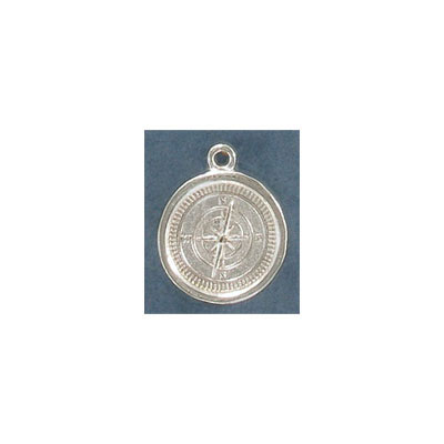 Metal pendant, 14mm, compass, pewter, silver plate