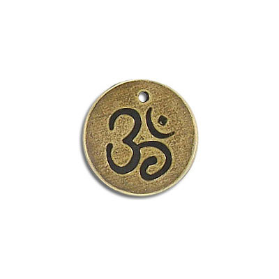 Metal pendant, 17mm, Hindu symbol OM charm, pewter, antique brass