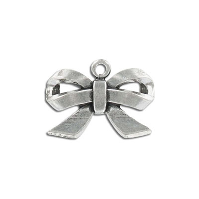 Metal pendant, 30x18mm, bow, pewter, lead free