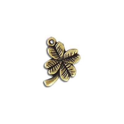 Metal pendant, 16mm, four leaf clover, pewter, antique brass plated, lead free