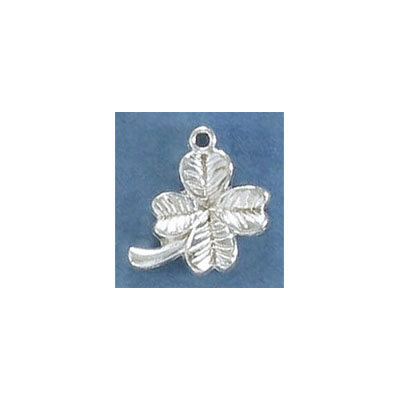 Metal pendant, four leaf clover, 16mm, pewter, silver plate