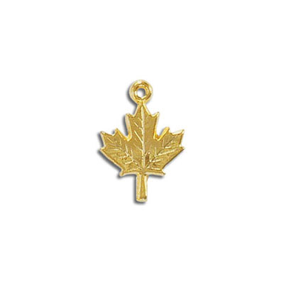 Metal pendant, 18mm, maple leaf, pewter, gold plated, lead free