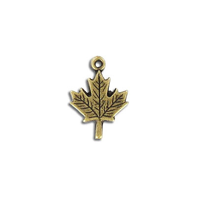 Metal pendant, 18mm, maple leaf, pewter, antique brass plated, lead free