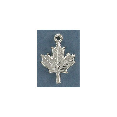 Metal pendant, 18mm, maple leaf, pewter, silver plate