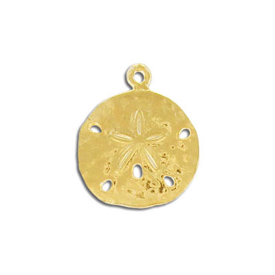 Metal pendant, 21mm, sand dollar, pewter, gold plate