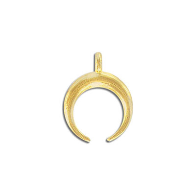 Metal pendant, 19x24mm, double horn, pewter, gold plate