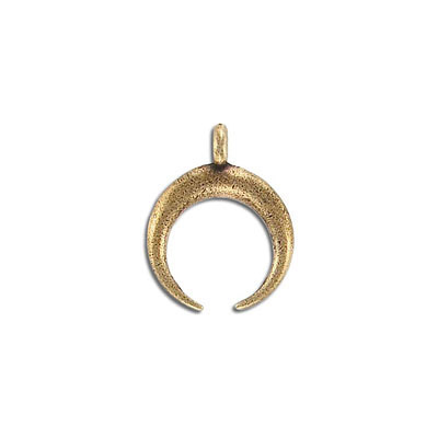 Metal pendant, 19x24mm, double horn, pewter, antique brass