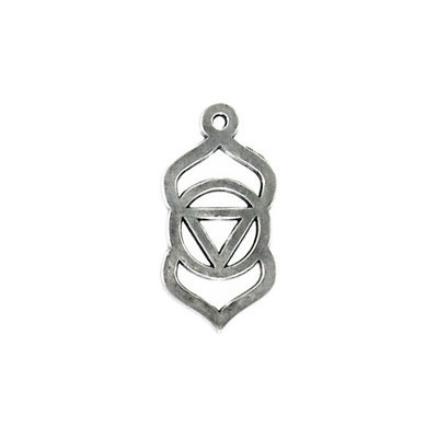 Metal pendant, 25x13mm, third eye chakra, pewter