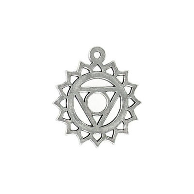 Metal pendant, 25x22mm, throat chakra, pewter