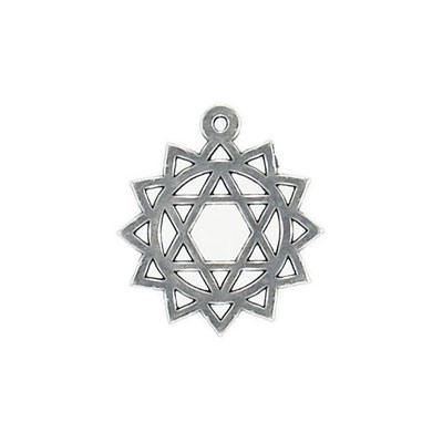 Metal pendant, 25x22mm, heart chakra, pewter