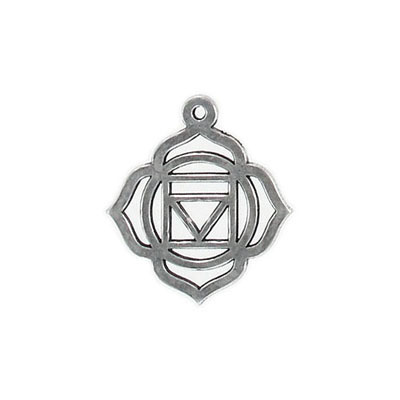 Metal pendant, 25x22mm, root chakra, pewter
