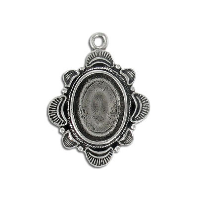 Metal pendant, setting, 18x13mm, pewter