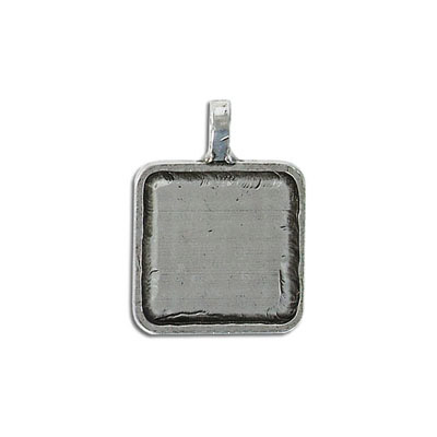 Metal pendant, square setting, 21mm, pewter