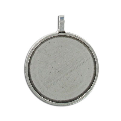 Metal pendant, round setting, for 2035/30MM, pewter, lead free