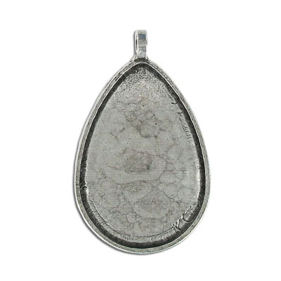 Metal pendant, pear shaped setting, 32x46mm, pewter