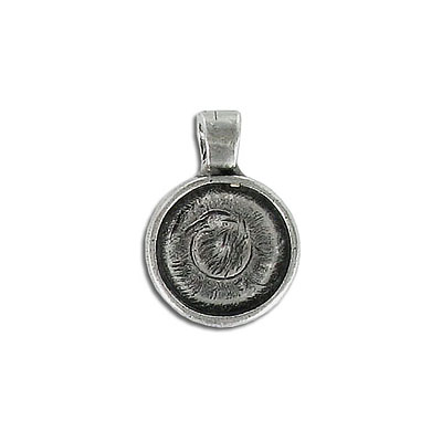 Metal pendant, setting, 12mm, round, pewter