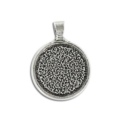 Metal pendant, 20mm setting, round, lead safe. Can be used with Swarovski Elements 2035/20mm