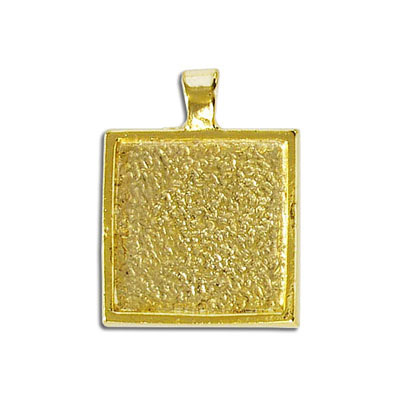 Metal pendant, 20mm square setting, gold plate