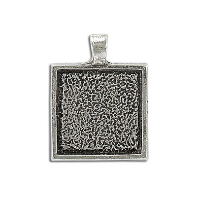 Metal pendant, 20mm setting, square, pewter. Can be used with Swarovski Elements 2493/20mm