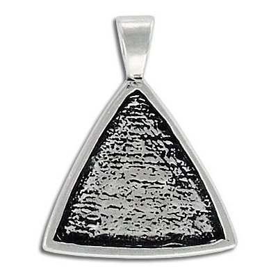 Metal pendant, triangle setting, 24mm, pewter