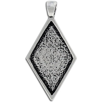 Metal pendant, diamond setting, setting size 30x18mm, pewter