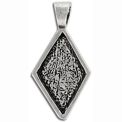 Metal pendant, diamond setting, setting size 20x12mm, antique silver, lead safe, pewter
