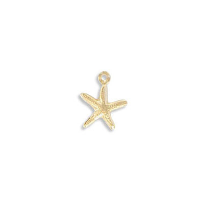 Metal pendant, 8mm, mini star fish charm, gold filled, gold plate