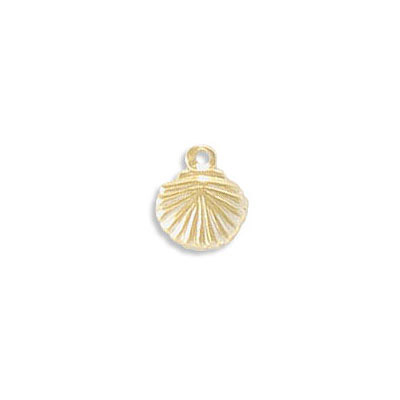 Metal pendant, 7mm, mini sea shell charm, gold filled, gold plate