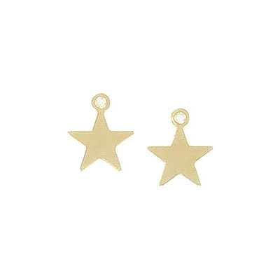 Metal pendant, 8mm, mini star charm, brass core, gold filled, gold plate